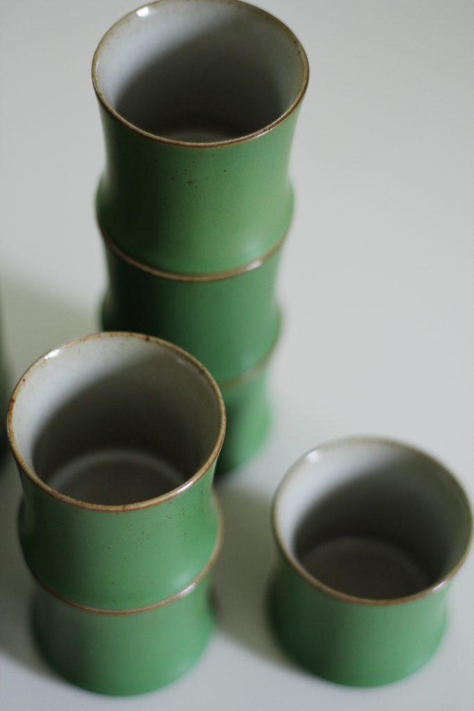 Nodi Lifestylen posliininen sake-astiasto on saanut inspiraationsa bambusta.